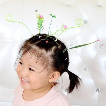 Горячая распродажа мода трава зажим для волос ростки шпилька зеленый оставляет шпильки радостным для волос женщины мужская и дети аксессуары для волос