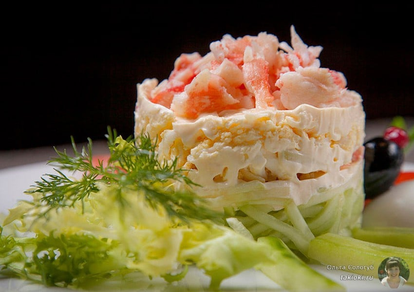 рецепт салата с креветками и кальмарами