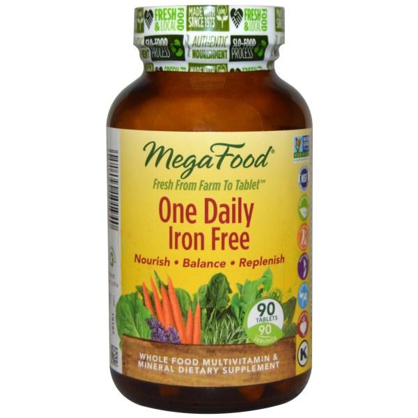 MegaFood, One Daily, Без железа, 90 таблеток
