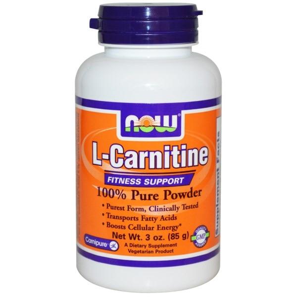 Now Foods, L-карнитин, 100% очищенный порошок, 3 унции (85 г)