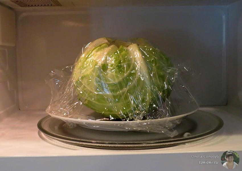 как приготовить капусту для голубцов в микроволновке