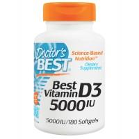 Doctor's Best, Лучший витамин D3, 5000 международных единиц, 180 мягких капсул