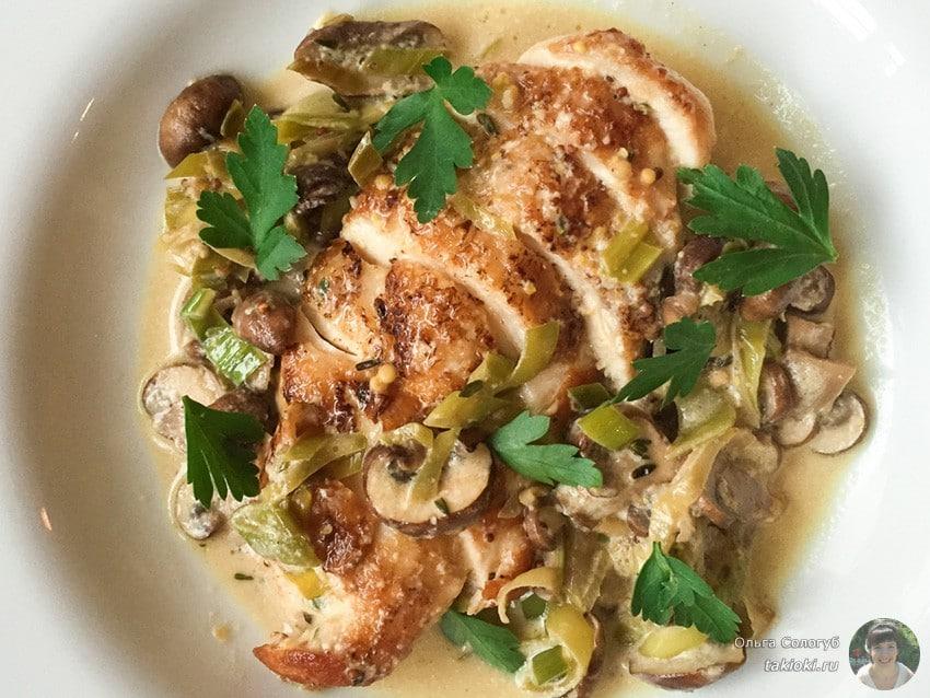 Салат маринованные грибы с куриной грудкой
