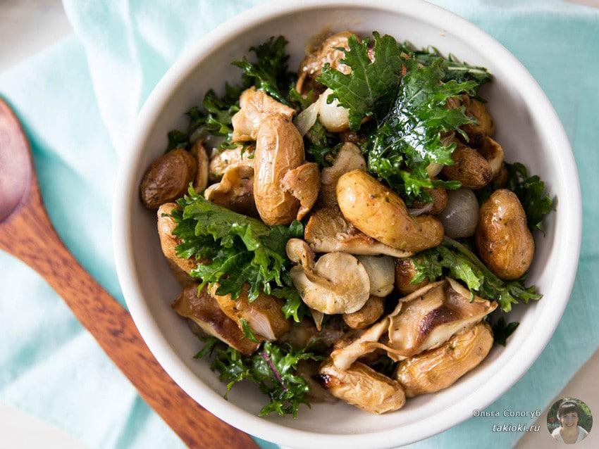 Простой и вкусный салат из маринованных белых грибов