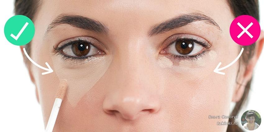схема как наносить консилер от синяков под глазами