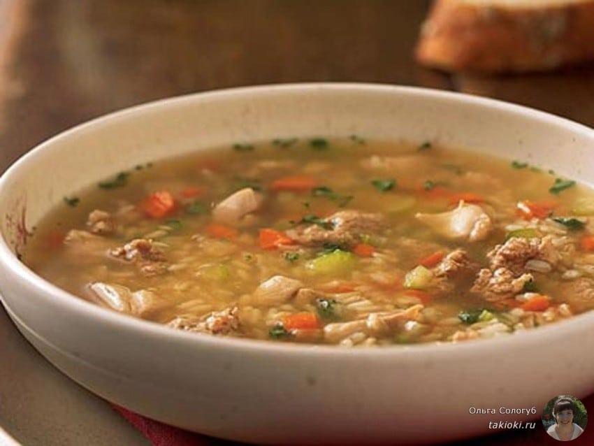 Сытный суп из маринованных белых грибов