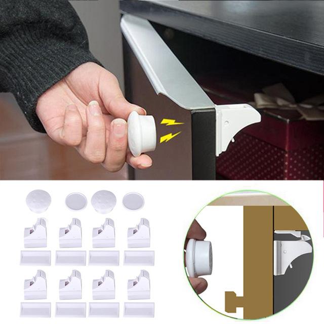 8 шт. Магнитная Блокировка от детей безопасности ребенка замок шкафа защиты детей дети ящик шкафчик для безопасности Шкаф восковыми замки
