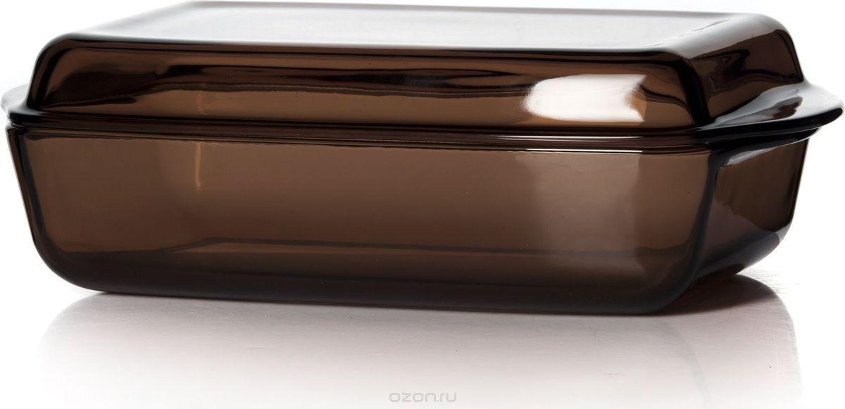 """Форма для СВЧ """"Pasabahce"""", с крышкой, цвет: коричневый, 2,75 л. 59010BR"""