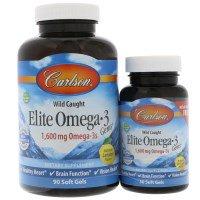 Carlson Labs, Elite Omega-3 Gems, натуральный лимон, 1600 мг, 90 желатиновых капсул + 30 желатиновых капсул бесплатно