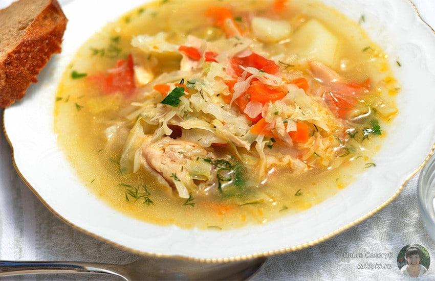 суп с капустой и копченой рулькой